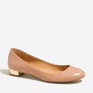 EUC J. Crew Janey Flat in Nude with Gold Heel